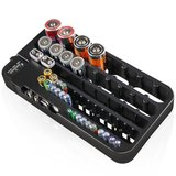 Battery Organizer with Battery Tester Storage Box Case for 72pcs AA AAA 9V AG CR C D Type Battery Holder_