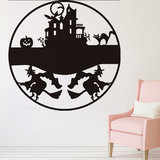 Happy Halloween heks kasteel kat Bat Decals venster muur Sticker verwisselbare feestartikelen decoratie innovatieve zwarte gesneden muur Sticker Vinyl Art Decal Decor_