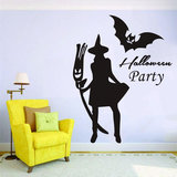Halloween New Witch Bat Muursticker Creative Carved Stickers PVC Waterproof Verwijderbare Wallpapers Verwijderbare Wallpapers Vinyl Art Decal Decor Waterproof Stickers_