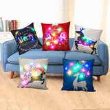 Christmas LED lights Linen Pillow Case Cushion Cover Home Decor Bed Sofa Case_