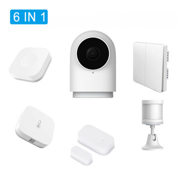 Originele Aqara 6 IN 1 Smart Home Security Kits G2 Gateway Smart IP Camera Lichaamssensor Thermometer Muur Draadloze Schakelaar Deur Raam Sensor Van Xiaomi Eco-System