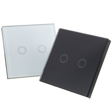 2 Gang 1 Way Touch Wall Light Switch Glas Met Afstandsbediening