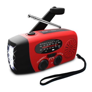 3in1 Emergency Hand Crank Self Powered Ben / FM NOAA Solar Weather Radio + Krachtige LED-zaklamp Sterk licht + 1000mAh Power Bank voor telefoon