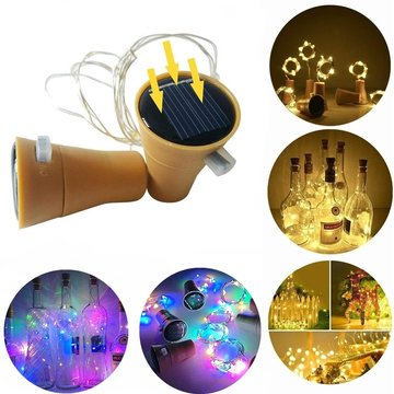 2M zonne-energie LED String Light koperdraad fles Cork buitenlamp voor Holiday Home Garden Decor