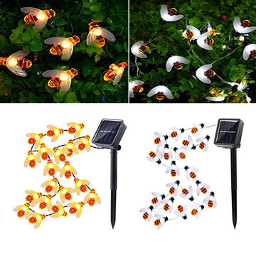 Zonne-aangedreven 5M 20LEDs Waterproof Black Yellow Bee Fairy String Light voor Garden Party Christmas