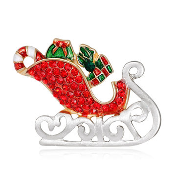 MloveAcc Emaille Kerstman Sleigh Car with Gifts Broches Kristal Hijab Pins Christmas Present Women Kids Brooch