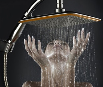 9 Inch Square Thin Rotatable Top Rain Shower Head Stainless Steel Water Saving Pressure Sprayer