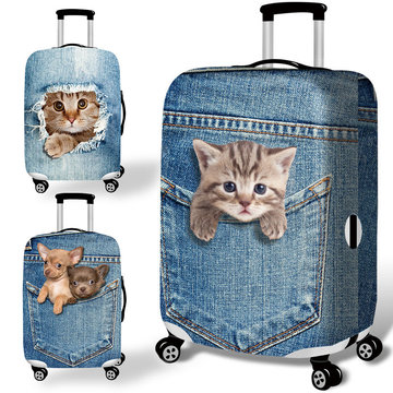 Honana Denim 3D Cute Cat Dog Elastic Bagage Cover Trolley Case Cover Duurzame Koffer Bescherming voor 18-32 Inch Case Warm Reis Accessoires