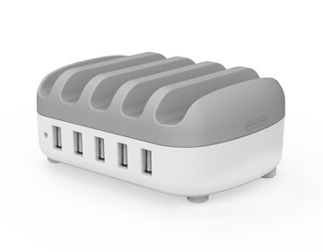 NTONPOWER NUK-5P 5 Ports USB Charger Desktop Dock Station 2.4A Smart Charging with Phone Holder