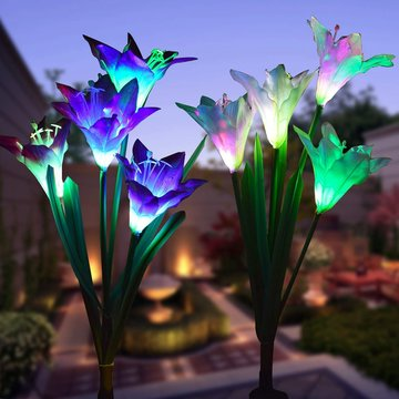 2 stks Zonne-energie 4 LED Lelie Bloemverlichting Multi-color Veranderende Outdoor Tuin Patio Yard Stake Lampen