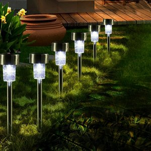 16 stks LED Solar Rvs Gazon Lampen Tuin Outdoor Landschap Path Licht