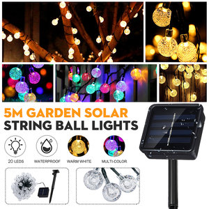 20 LED's Solar String Ball Lights Garden Decor Lamp Outdoor Waterproof Warm White / Multi-Color