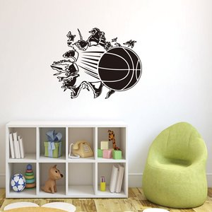 Honana 3D Verwijderbare Vinyl Muursticker Basketbal Busting Through Muurtattoo PVC Art Decor Voor Mand Fans & Jongens Slaapkamer decoratie
