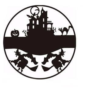 Happy Halloween heks kasteel kat Bat Decals venster muur Sticker verwisselbare feestartikelen decoratie innovatieve zwarte gesneden muur Sticker Vinyl Art Decal Decor