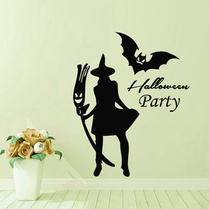 Halloween New Witch Bat Muursticker Creative Carved Stickers PVC Waterproof Verwijderbare Wallpapers Verwijderbare Wallpapers Vinyl Art Decal Decor Waterproof Stickers