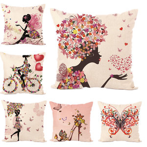 Fairy Tales Flower Style Printed Pillow Cover Butterfly Girls Pillow Case house Bed Hotel Decorative