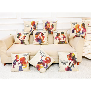 Honana Mother's Day Pattern Cotton Linen Throw Pillow Cushion Cover Car Home Sofa Decorative Pillowcase