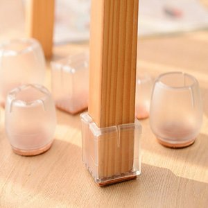 Silica Gel Desk Chair Foot Sleeve Thicken Transparent Non Slip Furniture Leg Cover Protective Sleeve
